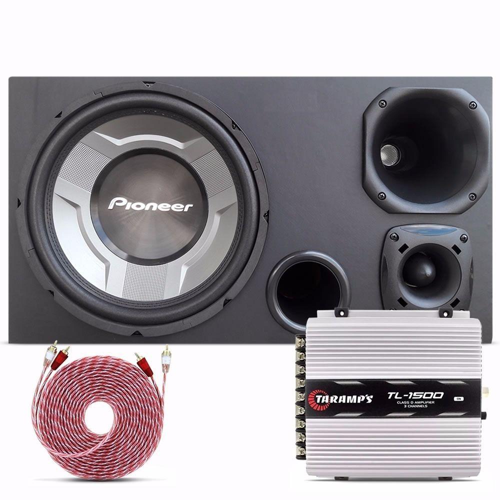 Caixa-Trio-Pioneer-Sub-12----Driver-Selenium---Modulo-Taramps-TL-1500